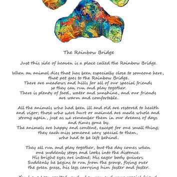 'Rainbow Bridge Poem With Colorful Paw Print by Sharon Cummings' by Sharon Cummings