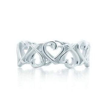 Tiffany & Co. -  Paloma Picasso® Loving Heart band ring in sterling silver.