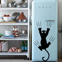 Wall Decal Vinyl Sticker Art Decor Design Cat animal claws scratch refrigerator kitchen jump gift funny Bedroom (m1363)