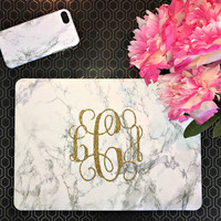 Marble MacBook Case with Monogram | White Marble | Personalized | Air 11 13 | Pro 13 15 | Retina | Touchbar