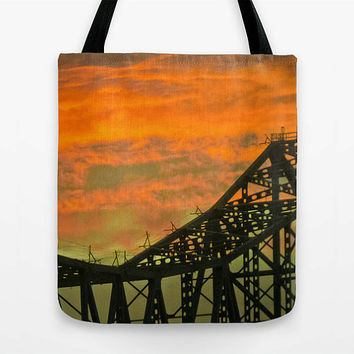 Bridge Tote Bag, Astoria, Oregon, photo, cute bag, MEDIUM, school bag, laptop bag, market tote, orange, sunset, canvas, twilight, awesome