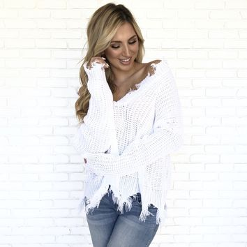 Jagged Edge Knit Sweater In White