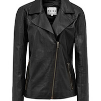 Fray Black Leather Biker Jacket - REISS