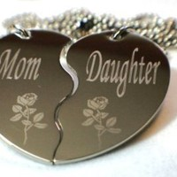Personalized Mother and Daughter Split Heart Dogtag Necklace W/chain and Giftbox: Jewelry