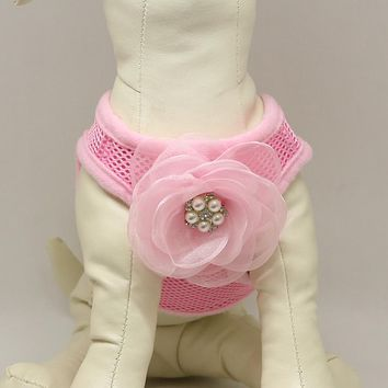 Dog harness, Dog harness with Pink beaded rose, Mesh harness ,Breathable, Girl puppy harness, Black, purple, orange, yellow or pink harness