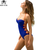 MANYIER One Piece Swimsuit 2017 Sexy Swimwear Women Bathing Suit Swim Vintage Summer Beach Wear Print Bandage Monokini Swimsuit