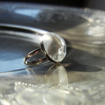 Pools Of Light - Sterling Silver Rock Crystal Ring - Size 6.25