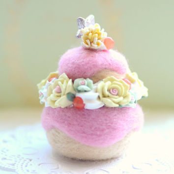 Cake ornament / home decor, needle felted wool Paris religieuse cake, pink yellow color white cream, fake pastry food miniature, tt team