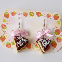 Cake Earrings - Kawaii Deco Sweets/ Decoden Polymer Cake Chocolate Frosted Cake Earrings