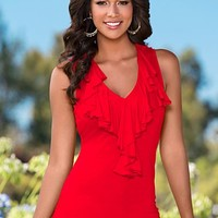 Red (PPRD) Ruffle Front Top