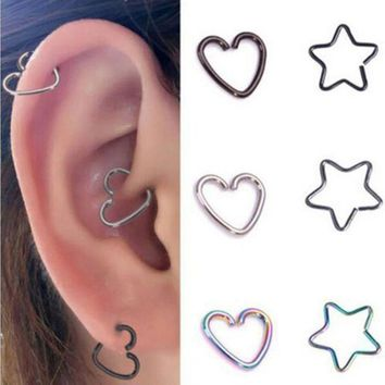 ac DCCKO2Q 1PC Heart/Star Shaped Tragus Piercings Hoop Helix Cartilage Tragus Daith Ear Studs Lip Nose Rings Piercing Jewelry