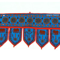 Indian Blue Mirror Embroidered Door Window Hanging Valance Treatment Decor Art