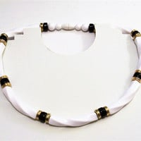 Avon Black White Necklace Choker Gold Tone Vintage 1988 Classic Twist Lucite Tubes Round Rondelle Beads 19 Inches Long