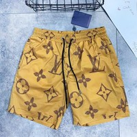 LV Louis Vuitton Summer New Fashion Monogram Print Women Men Shorts Yellow