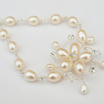 Wedding Bracelet Pearl Floral Vine Bridal Jewelry Swarovski Crystals Real Ivory Pearls and Rhinestones Bridesmaid Gift Wire Wrapped