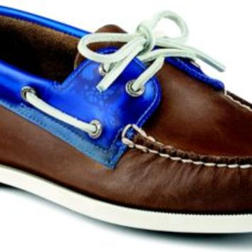 Sperry Top-Sider Authentic Original Seaglass 2-Eye Boat Shoe DarkBrown/Blue, Size 7M  Men's Shoes