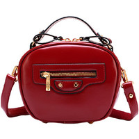 Burgundy Candy Color PU Leather Zippered Mini Shoulder Bag