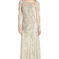 Women's Adrianna Papell Embellished Mesh Illusion Gown,