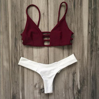 Sexy Strap Hollow Beach Bikini Set Swimsuit Swimwear -0314