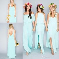 2017 New Arrival  Summer Beach Bohemian Bridesmaid Dresses Turquoise Chiffon Side Slit Boho Bridesmaid Gowns Vestido De Festa