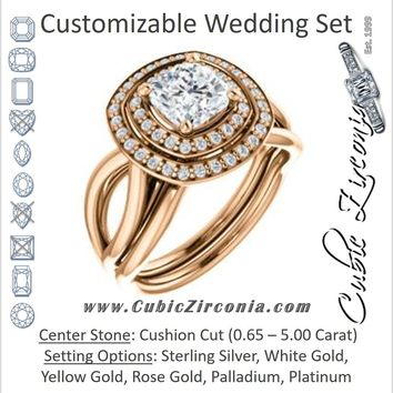 CZ Wedding Set, featuring The Magda Lesli engagement ring (Customizable Double-Halo Style Cushion Cut with Curving Split Band)