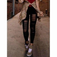 New Sexy Ripped Torn Slashed Leggings Punk Low Rise