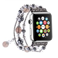 Apple Watch Band,Pearl Elastic Stretch Bracelet Replacement Women Girls iWatch Bands Strap for Apple Watch Series 3/2/1 42mm - Grey