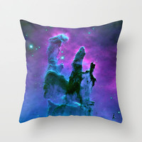 Blue & Purple Gaseous Nebula Galaxy Print Throw Pillow by 2sweet4words Designs