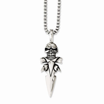Stainless Steel Polished & Antiqued Skull on Dagger 22in Necklace