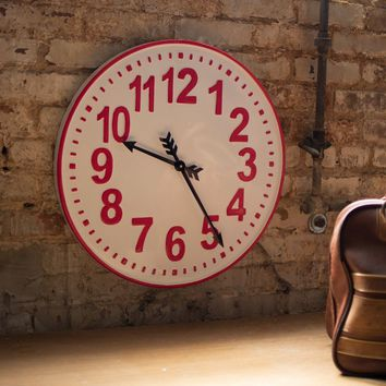 Enamelware Red And White Clock