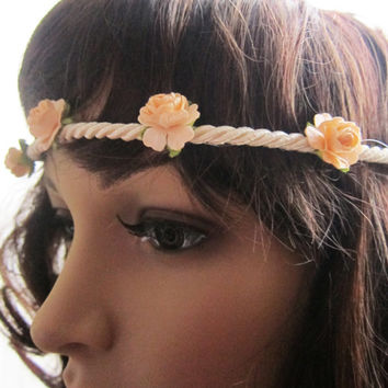 Peach Rose Headband Garland Crochet Lace Floral Hairband Bohemian Lana Del Rey Flower Crown Woodland Wedding Bridesmaids Gift Shabby Chic