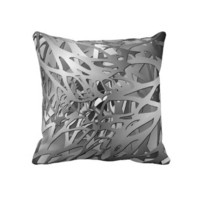 Silver & Gray Abstract Branches Throw Pillows from Zazzle.com