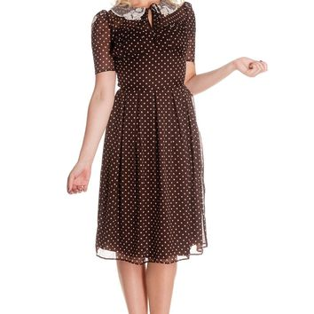 Hell Bunny 40s 50s Vintage Cynthia Polka Dot Brown Chiffon Dress