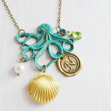 nautical octopus necklace,steam punk fantasy,pirate locket,personalized octopus,seashell locket,kraken octopus locket,statement necklace
