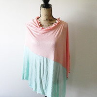 Peach and Mint Poncho/ Nursing Poncho/ Breastfeeding Shawl/ Nursing cover/ Two Tone Ruffle/ Summer Fashion