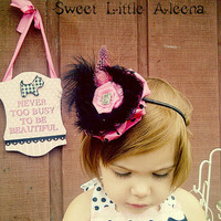Baby Girls Hot Pink and Black Feather Hair Bows Fancy headband For Wedding Birthdays Photo Shoots