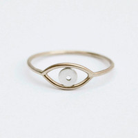 Gold Evil Eye Ring,14kt Gold filled wire and sterling silver, Gold and Silver Evil Eye Ring