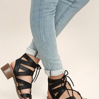Arielle Black Lace-Up Sandals