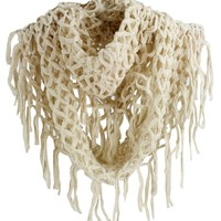 SF392-2 NY Deal Knit Solid Color Infinity Loop Scarf with Fringe