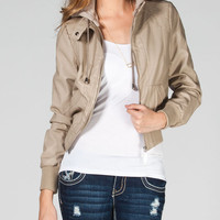 Therapy Womens Hooded Faux Leather Jacket Stone  In Sizes
