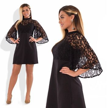 Plus Size Dress Flare Sleeve Mini Summer Dress Sexy Party Dress 5XL 6XL Big Women Lace Dress Black Vestidos