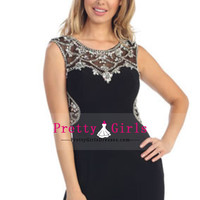 2014 High Quality Homecoming Dresses Short/Mini Sheath Black With Rhinestones And Beads Zipper Up US$ 188.99 PGDPY8F372J - PrettyGirlsDresses.com