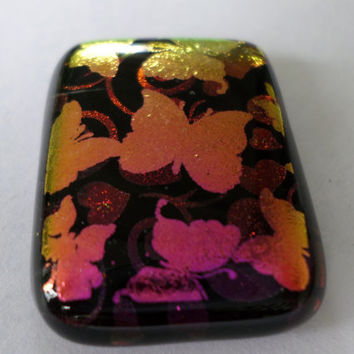 Magenta Butterfly Hearts Dichroic Glass Cabochon Cab Fused Glass MosaicPendant  Upgrade to pendant available  Fused Glass  PMC Wire Wrap