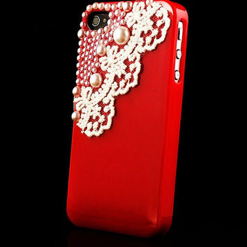 iPhone 4 and iPhone 4S Victorian Red Pearls and Lace case