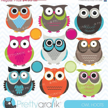 60% OFF owl clipart for scrapbooking, commercial use, vector graphics, digital clip art, images - CL545