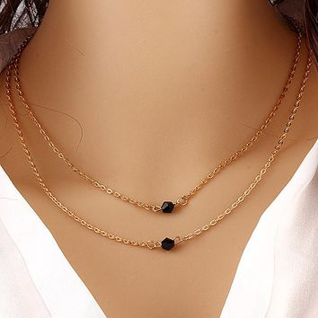 N600 Black Crystal Beads Pendants Necklace For Women Wedding Fashion Jewelry Double Layer Collares Accessories