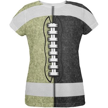 Fantasy Football Team Black and Gold All Over Womens T Shirt