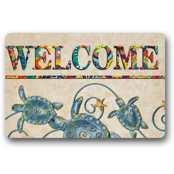 Autumn Fall welcome door mat doormat  Entrance Mat Sea Turtles And Star Welcome  Non-slip  23.6 by 15.7 Inch Machine Washable Non-woven Fabric AT_76_7