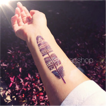 Purple Blue tone colored feather tattoo - InknArt Temporary Tattoo - wrist quote tattoo body sticker fake tattoo wedding tattoo small tattoo