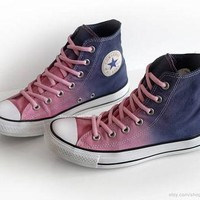 Ombr¨¦ dip dye Converse All Stars, pink, purple, blue, upcycled vintage sneakers, high